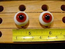 990 un par vintage esférico masivo muñeca cristal ojo alambre círculo de 18 mm