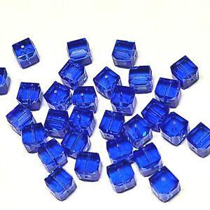 8mm Cube SAPPHIRE BLUE SWAROVSKI® Crystal Beads #5601 - 5 BEADS - (#779)