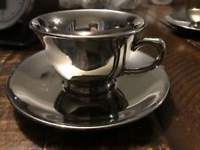 Silver LuRay Pastels Lu-Ray Tea Cup And Saucer, Taylor Smith & Taylor 1950's