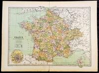1870 John Bartholomew Large Antique Map of France