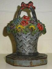 """Antique Cast Iron Doorstop Flower Bouquet Basket, 7"""" tall"""