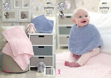 Baby Knitting Pattern Poncho Cape & Confort Couverture King Cole Yummy Chunky 4821