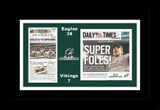 PHILADELPHIA EAGLES BEAT VIKINGS NFC MATTED SINGLE PIC OF NEWSPAPER FRONT PAGES
