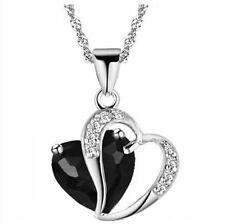 Damen Herz Anhänger Zirkonia Strass Collier Halskette SCHWARZ
