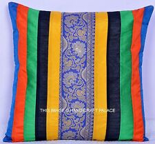 Silk Embroidered Cushion Cover Patchwork Silk Brocade Pillow Case Handmade Throw