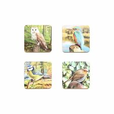 British Wildlife Birds 4 Coasters Gift - Owl, Blue Tit, Kingfisher, Robin