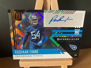 RASHAAN EVANS NFL 2018 PANINI UNPARALLELED ROOKIE AUTOGRAPH (TENNESSEE TITANS)