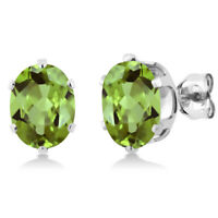 2.60 Ct Oval 8X6mm Green Peridot 925 Sterling Silver Stud Earrings