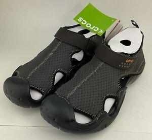 Men Crocs Swiftwater Mesh Deck Sandal Size 7 Espresso 100% Authentic New