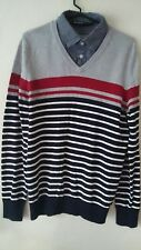 Mens sweater  Grey burgandy Navy & white 100% cotton Jumper size M- NEW
