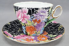 Shelley Black Crackle Chintz I0199 Pattern Tea Cup & Saucer Circa 1945 - 1966