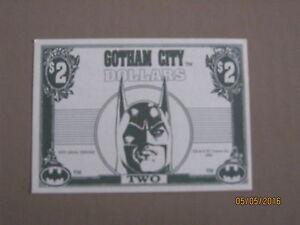 Batman returns 1992 Dynamic marketing Gotham city $2 bills nice crisp
