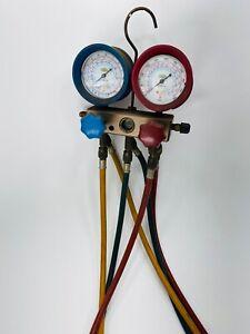 REFCO Refrigerant Pressure Gauge Manifold w/ Hoses HVAC