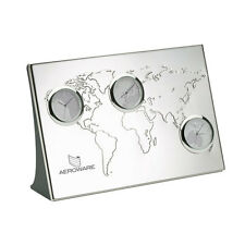 EMBOSSED WORLD TIME MAP CLOCK 3  TIME ZONES SILVER DESK CLOCK FATHERS DAY XMAS