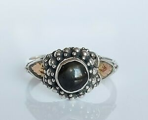Beautiful 18ct Gold & Sterling Silver Cabochon Garnet Floral Ring UK Size Q