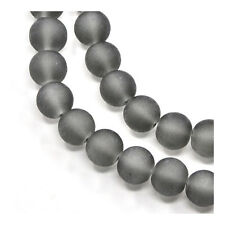Strand 100 Grey Glass 8mm Frosted Plain Round Beads Y05230