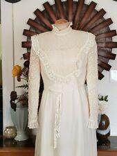 Vtg steampunk Sax Romantic ivory sateen Lace Wedding Dress Renaissance Hipster