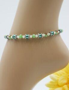 XS Fußkette Zarte Fußkettchen Silber Sommer Perlen Grün Strand #JA051