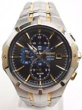 Seiko Solar Coutura Mens Charcoal Dial 2 Tone Alarm Chrono Watch SSC198