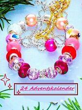 Mädchen, Teenager Rot Rosa 24 Adventskalender +Armband + Bead Anhänger +2 Ketten