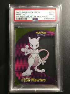 2000 Topps Pokemon Mewtwo PC5 TV Animation Clear Card PSA 9 MINT