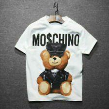 Womens Men Moschino Funny Short Sleeves Cotton Tops Bear Printed T-shirt UK
