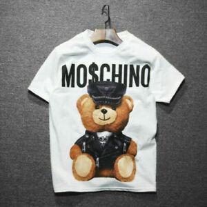 Unisex Womens Men Moschino Funny Short Sleeves Cotton Tops Bear Printed T-shirt