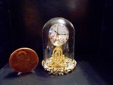 New Elegant Gold Glass Dome Mantle Clock Dollhouse Miniatures Dome Clock Reg.$49