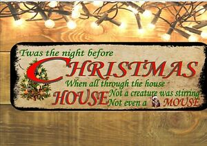 Twas The Night Before Christmas Vintage Style Metal Wall Plaque Sign