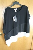 Joseph Ribkoff NWT Black and White Womens Oversized Asymmetrical Top Sz10