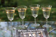 Vintage Gold Encrusted Wine Glasses, Set of 4, Mixologist Craft Cocktail Glasses