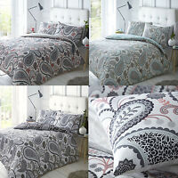New Paisley Duvet Quilt Bedding Cover Pillowcase Set Shell Pink Teal Black Grey