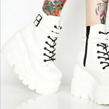 Fashion Womens Punk Gothic Shoes Wedge Heels Platform Zipper Lace Up Ankle Boots