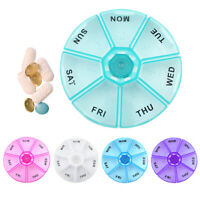 1 Round 7 Day Pill Box Medicine Organizer  Daily Weekly Medication Holder Travel