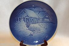 "Bing Grondahl Blue Jule After 1975 Collector 7"" Plate Christmas Watermill"