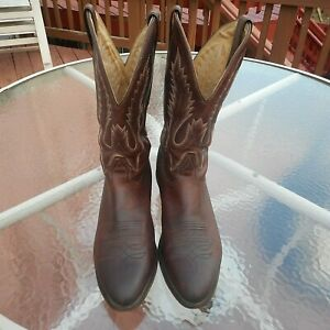 Boulet Brown Leather Medium Cowboy Toe Western Men's Boots Size 12 E 7032
