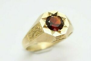 Antique 9ct Gold Hexagon Shaped Signet Ring with Garnet Stone, 1919, Size N 1/2