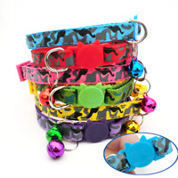 Breakaway Camouflage Safety Quick Release Collar Bell Camo Cat Adjustable Kitten