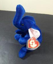 RARE Peanut The Royal Blue Elephant TY Beanie Babies Baby 3rd Gen Hang Tag 1995
