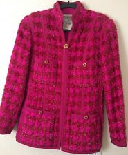 GORGEOUS CHANEL VINTAGE RUNWAY PINK FUCHSIA GOLD BOUCLE TWEED COAT JACKET 42