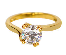 2.05 Carat D/VVS1 Round Shape Solitaire Women's Ring Real In 14KT Yellow Gold