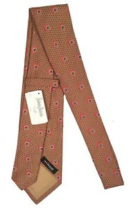 NEW $295 Kiton Pure Silk Tie!   Dark Red & Antique Gold With Red & Blue Design