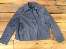 """New York & Co Stretch Cotton Blend Brown Womens Military Style Crop Jacket S 39"""""""