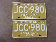 1970 MICHIGAN License Plate Pair JCC-980