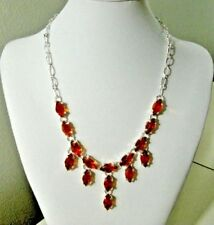 silver plated chain necklace bib simulated brown citrine gemstone 18 inch women