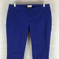 Merona womens size 6 stretch solid blue flat front mid rise slim chino pants