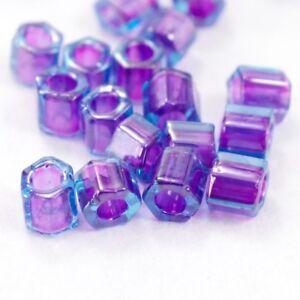 8/0 Purple Lined Aqua Hex Seed Bead (40 gm) #JJG005
