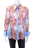 Escada Sport Womens Polka Dot Floral Satin Button Up Blouse Pink Blue Size EU 40