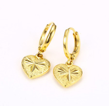 Fashion Yellow Gold Plated Flower Heart Drop Dangle Huggie Hinged Hoop Earrings