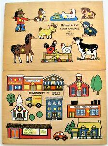 2 Vintage Fisher Price Wooden Peg Puzzles 502 Community & 507 Farm Animals Set